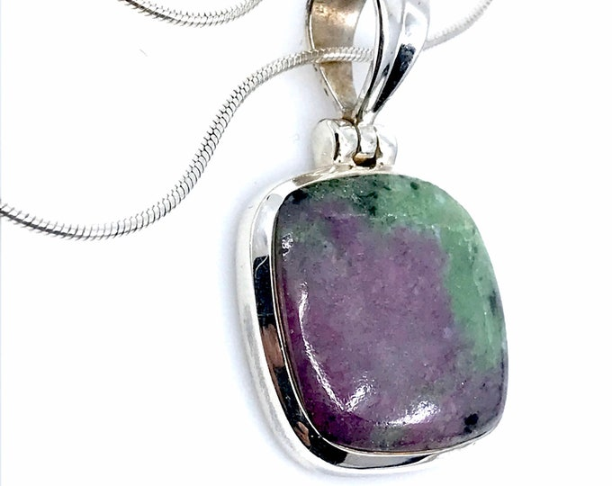 Ruby zeosite silver pendant fine jewelry ruby necklace ruby stone jewelry gift square pendant,ruby pendant,sterling silver.