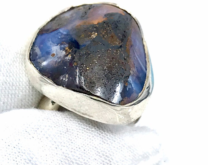 Australian Opal Adjustable size (6-9) opal ring freeform ring unique ring Opal jewelry,his and hers ring Healing crystals Opal stone