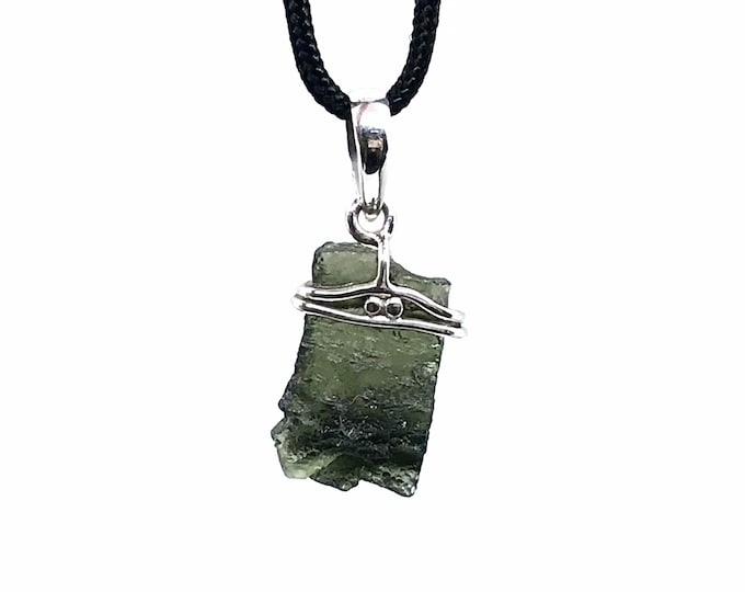 REAL Moldavite 925 sterling silver adjustable necklace Fine jewelry Moldavite meaning One of a kind Russian stone Unique gift Gift for her