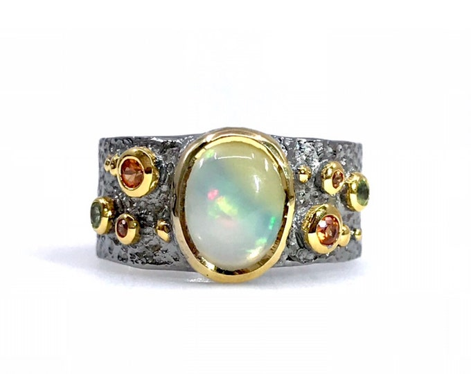Exquisite 925 Sterling Silver Ring Decorated with Orange Sapphires and Ethiopian Opal, Plated with 3 Micron 22K Gold and Grey Ruthenium