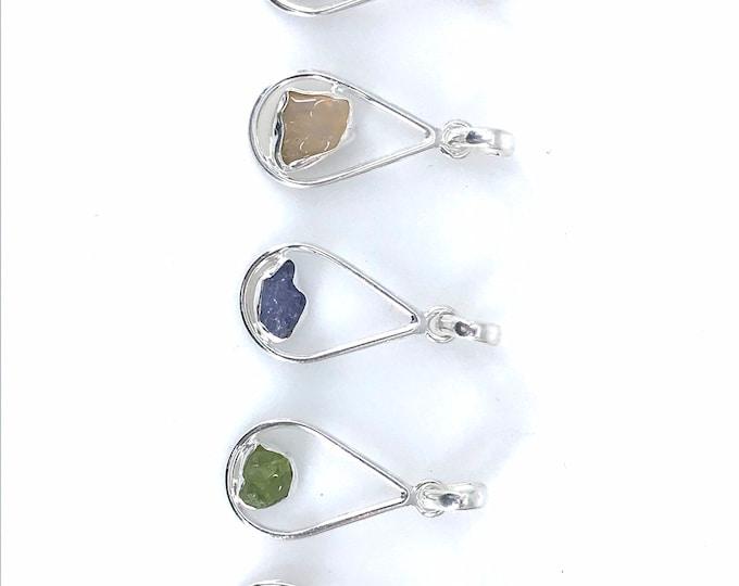 Dainty crystal gems silver pendants tanzanite crystal pink tourmaline green tourmaline Ethiopian opal peridot crystal,healing gems.