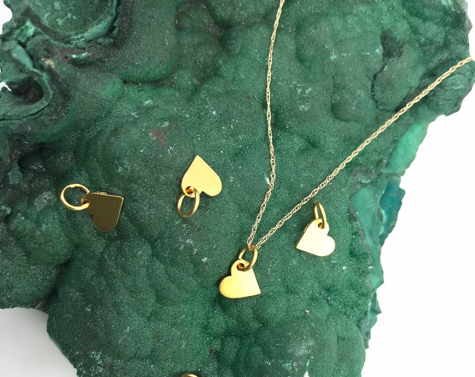 Gold Hearts CUTE Dainty 24kt heavy gold plated over silver Heart jewelry Gold pendant Gold necklace heart pendant heart Gold jewelry