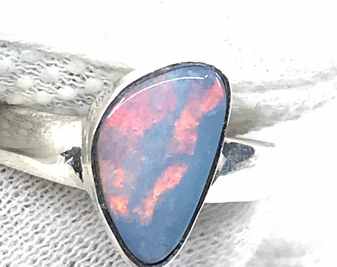 Size 9 Opal silver ring fine jewelry Australian opal freeform ring silver ring size 9,his and hers ring,opal stone,opal crystal,opal meaning