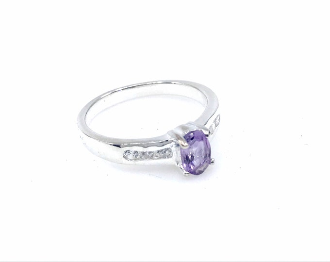 Amethyst size 6.5 silver ring purple ring  crystal jewelry  amethyst ring  amethyst jewelry cubic zirconia,amethyst gift,crystal gift