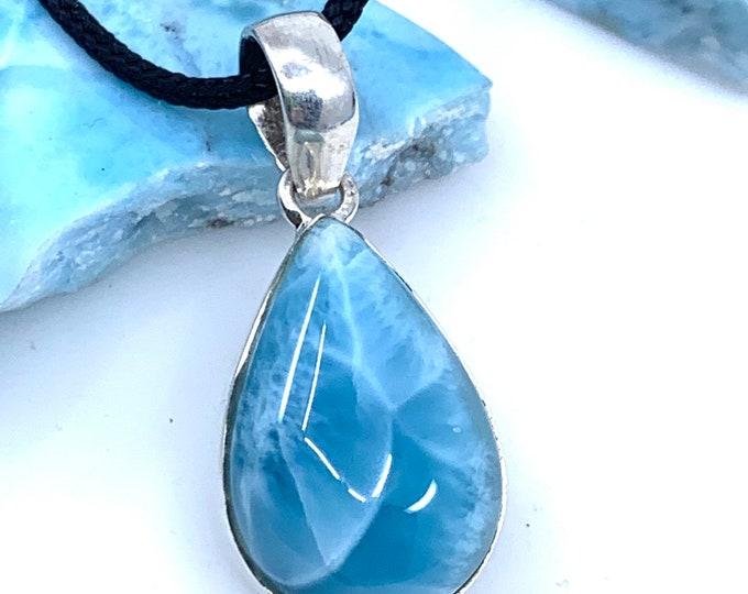 Larimar sterling silver pendant  larimar jewelry  larimar necklace  dominican larimar  larimar stone polished larimar larimar gift