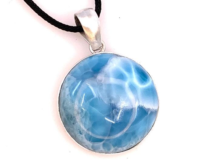Rare quality Larimar sterling silver pendant  Dominican larimar larimar jewelry  larimar necklace   mermaid pendant  larimar pendant