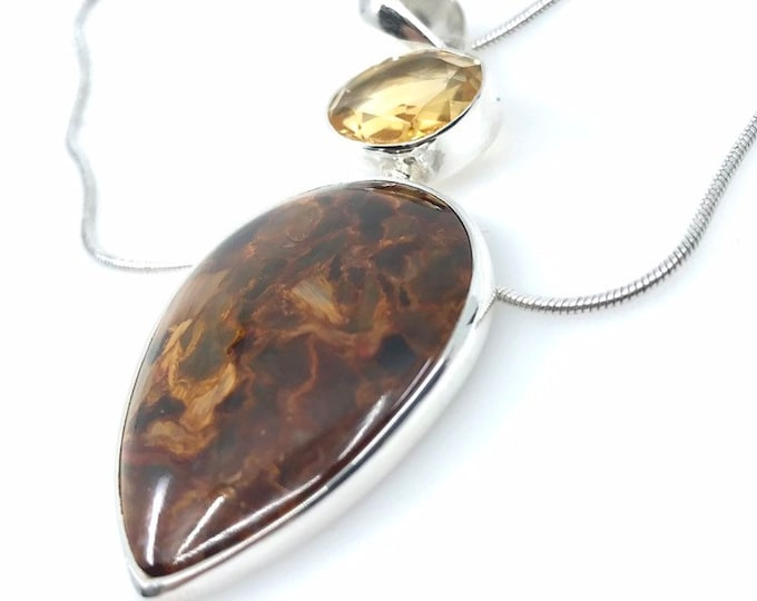 Pietersite pendant  Brown Topaz sterling silver Piertersite jewelry One of a kind Gift for mother mothers day gift Unique gift Gift for wife