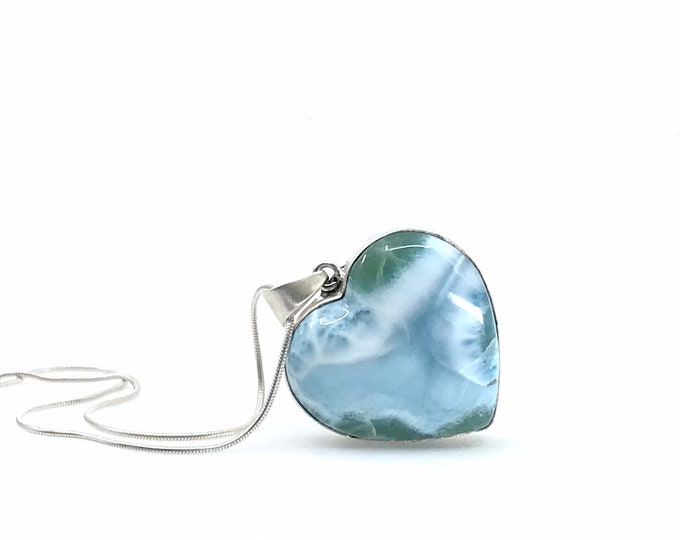 Large Larimar heart 925 sterling silver pendant Natural Larimar stone Dominican Gemstone Fine jewelry Healing crystal Gift for her