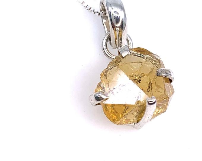 Dainty Citrine crystal silver pendant necklace Citrine pendant Fine jewelry crystal pendant Citrine meaning Crystal jewelry Citrine  jewelry