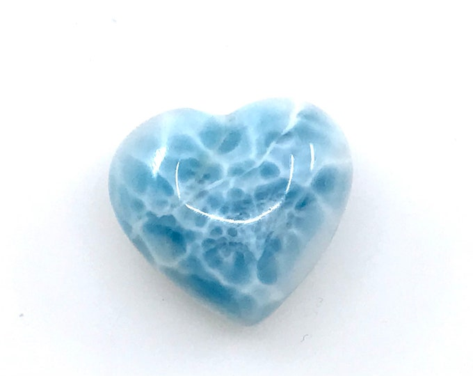 AAA quality Larimar puffy heart cabochon Dominican larimar crystal heart Crystal gifts Larimar gifts Reiki healing Gift for her Gift for him