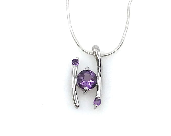 """Amethyst crystal 18"""" sterling silver necklace Lobster claw clasp Natural amethyst Fine jewelry Gemstone necklace Gift for her"""