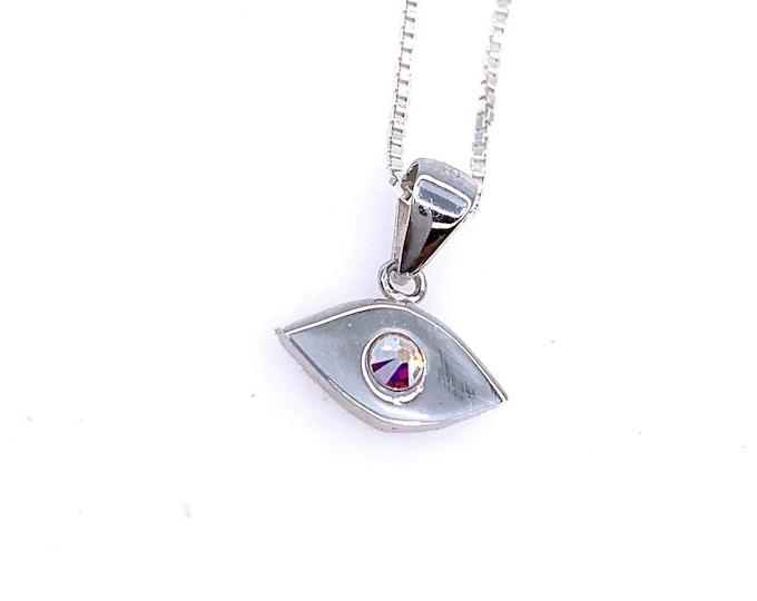 Dainty Rainbow swarovski crystal Evil eye 925 Sterling Silver Pendant necklace. Tiny eye Pendant Fine Jewelry Cute jewelry Eye Necklace