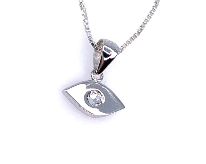 Dainty Clear swarovski crystal Evil eye 925 Sterling Silver Pendant necklace. Tiny eye Pendant Fine Jewelry Cute jewelry Eye Necklace