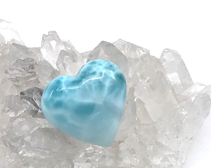 AAA quality Larimar heart cabochon Dominican larimar crystal heart Crystal gifts Larimar gifts Reiki healing Gift for her Gift for him