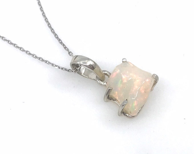 Welo Ethiopian opal 18\u201d rhodium plated sterling silver chain Fine jewelry Opal necklace Crystal jewelry Healing crystals Gift for her