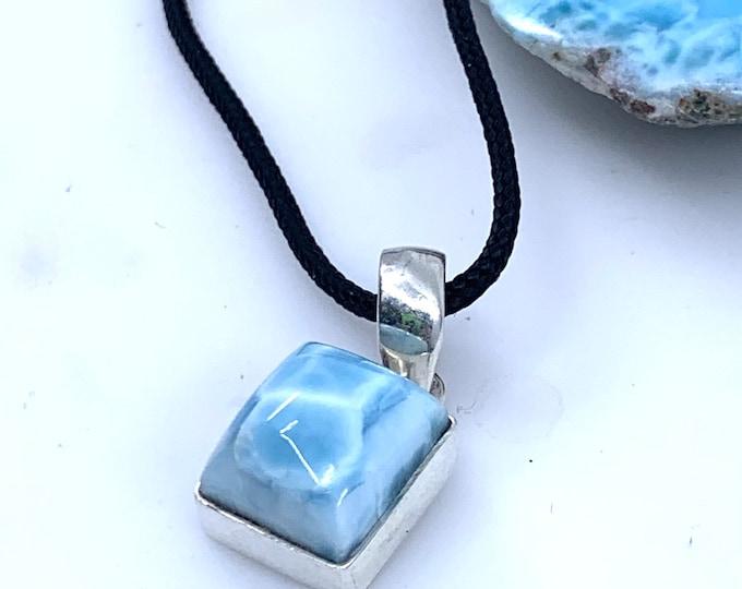 Larimar sterling silver pendant  fine larimar jewelry  larimar necklace  dominican larimar  larimar stone polished larimar larimar gift