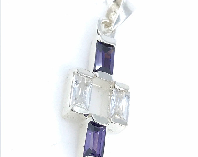 Amethyst faceted and CZ diamond cross fine jewelry silver pendant amethyst pendant dainty jewelry amethyst stone,amethyst jewelry