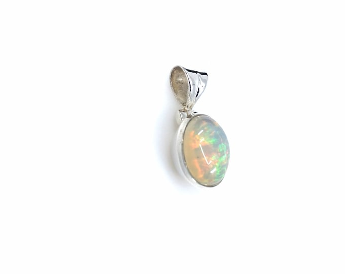 "Opal from Ethiopia sterling silver pendant 1"" pendant fire opal simple yet mesmerizing crystal jewelry silver pendant opal pendant,opal"