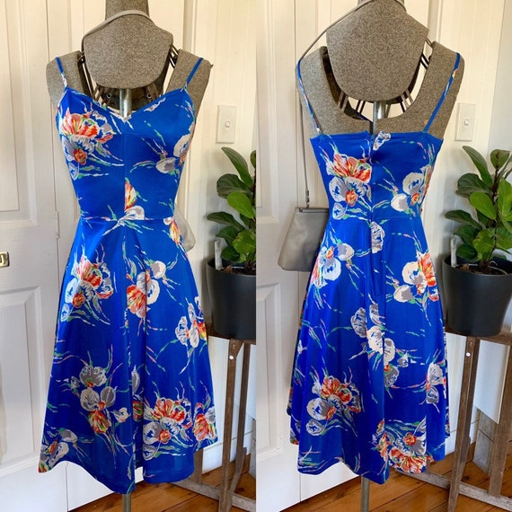 Vintage 70s summer skater dress with orchid print,