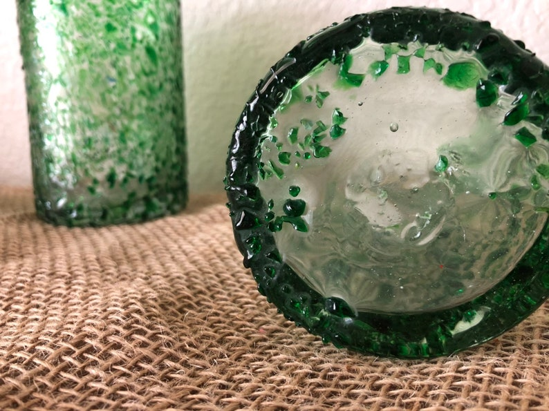 Hand Blown Forrest Green Speckled WaterJuice Glasses 3
