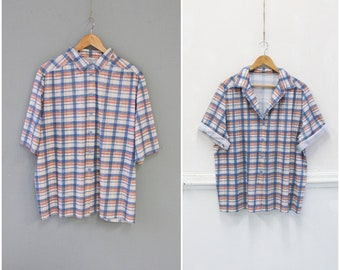 07ea69c94fe3f 90s Plaid Shirt Womens XL Checked Blouse Oversize Button Up Top Short Sleeve  Top Beige Red Blue Check Print Top Womens Button Down Shirt XL