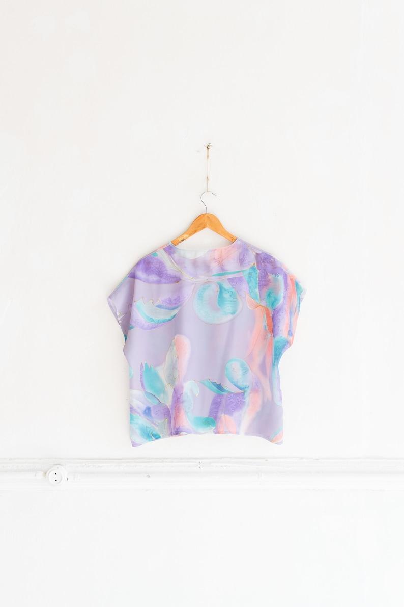 Vintage Batik Blouse 90s Pastel Crop Top Abstract Sheer Blouse Medium Loose Fit Top See Through Blouse Drop Shoulder Summer Top Batik Top M