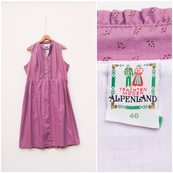 Vintage Dirndl Dress Women Large Pink Folk Dress A