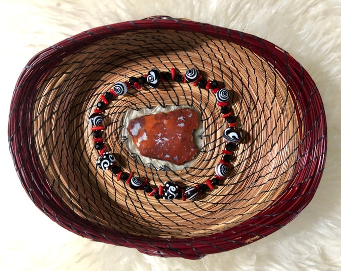 161 - Red rock slice base with black & red beads