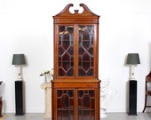 Antique Glazed Mahogany Corner Cabinet 19th Century Astragal Tall Bookcase