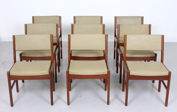 9 Vintage Danish Teak Dining Chairs Mcm Etsy