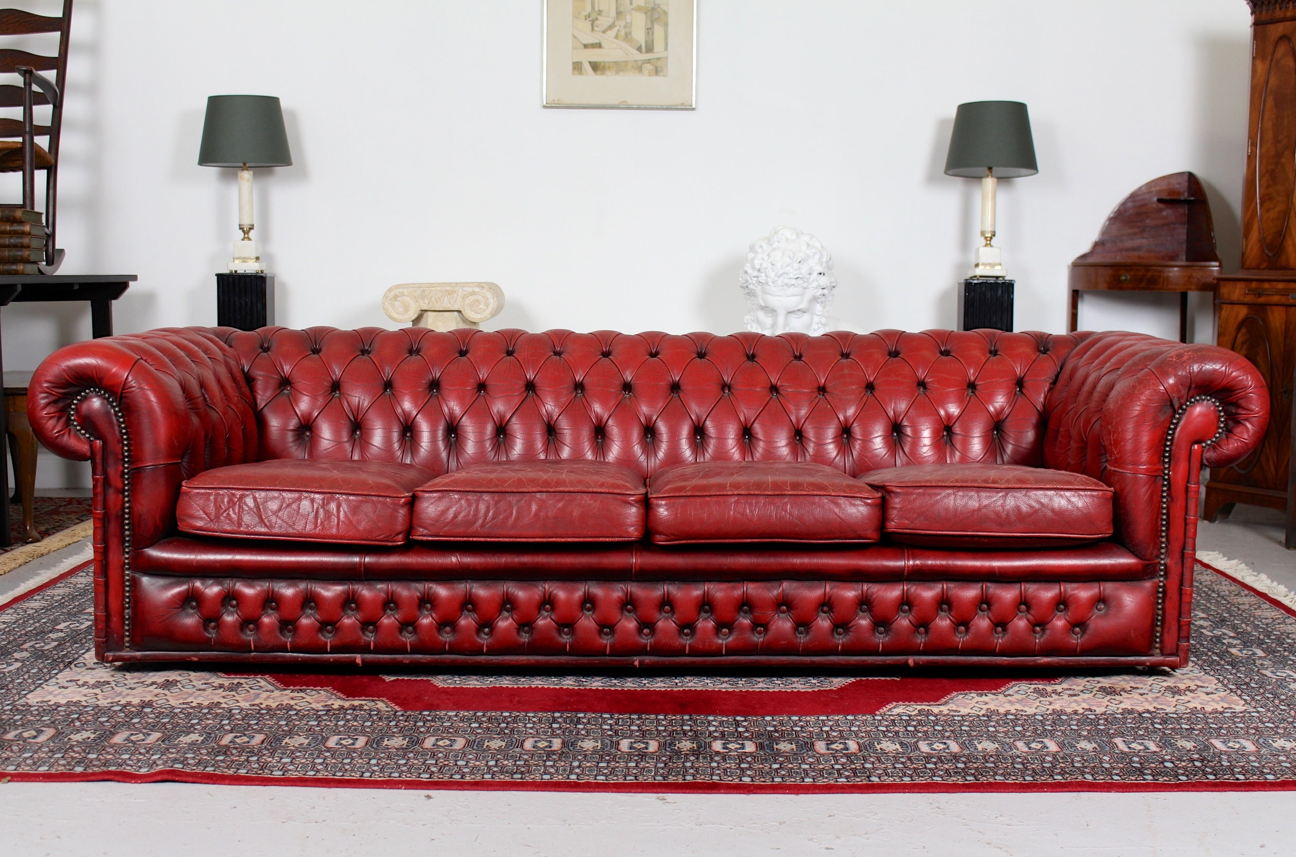Large Chesterfied Sofa 4 Seater Red Leather Button Tufted Vintage