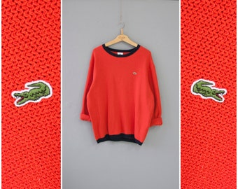 bef50a83f6b55d Vintage Lacoste Sweater Mens S M Lacoste Sweatshirt Mens 90s Retro Knitwear  Womens M L Lacoste Top Red Lacoste Pullover Sweater Mens S M