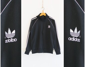 c32c39cd3be6 Vintage Adidas Jacket Mens S M Adidas Track Jacket 90s Sports Jacket Womens  M L Black White Adidas Tracksuit Top Retro Sportswear Adidas S M
