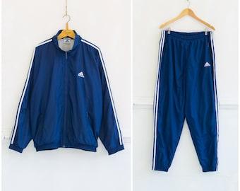 7d97ba922936 Vintage Adidas Tracksuit Mens L 80s Tracksuit Womens XL Sports Jacket  Sweatpants Matching Set Navy Adidas Jacket Pants Two Piece Tracksuit L