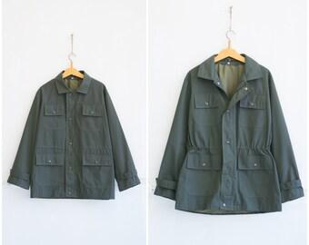 3bce04e13 Vintage Field Jacket Mens M Khaki Parka Jacket Army Style Jacket Womens L Canvas  Jacket Mens Medium Military Style Jacket Khaki Parka M L
