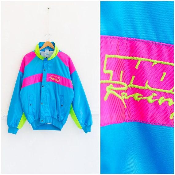 Vintage Neon Jacket Mens M 80s Neon Bomber Jacket Womens L Neon Top Thor Racing Jacket Medium Neon Blue Pink Green Bomber Jacket Racing M L
