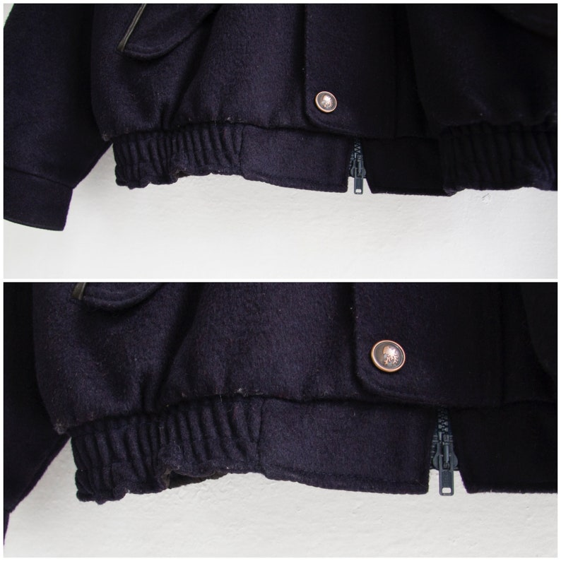 Bomber Jacket Men XS 90s Bomber Jacket Dark Blue Wool Bomber Jacket 80s Baggy Jacket Women Small Retro Wool Jacket Men XS 80s Varsity Jacket