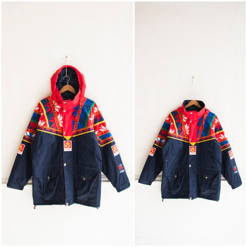 Vintage Parka Jacket Men Large Helly Hansen Parka Jacket Women XL Nordic Jacket Hooded Winter Jacket Oversized Colorful Parka Men L Jacket