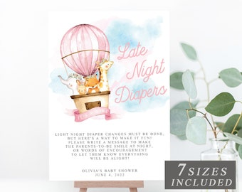 Wedding Sign Banner Baby Shower Sweets Party A4 A3 Pink Hot Air Balloon