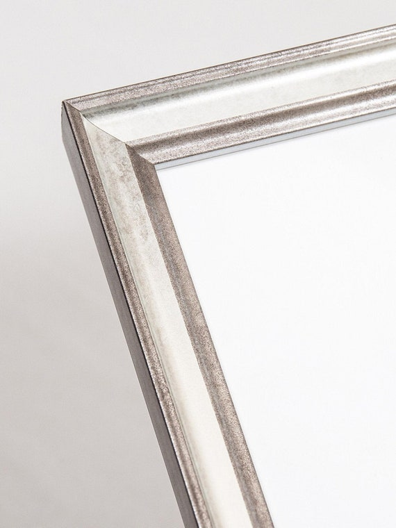 6x8 Silver Foil Real Wood Picture, Silver Mirror Frame A4