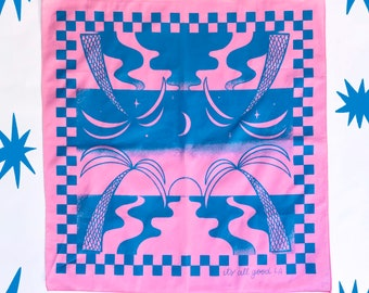 Limited Edition It/'s All Good LA Paradise Checkerboard Screen printed Bandana