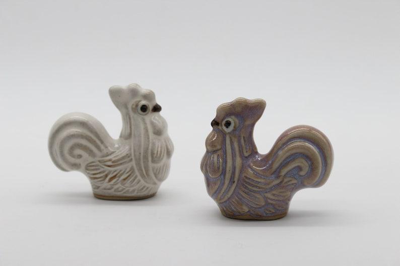 Ceramic Animal Ceramic Set of Two Ceramic Rooster Ceramic Roosters