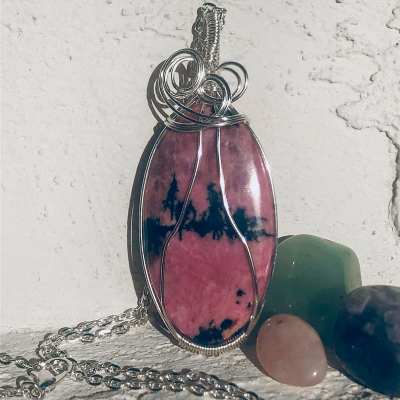 Wire Wrapped pendant Rhodonite Crystal necklace Crystal Healing
