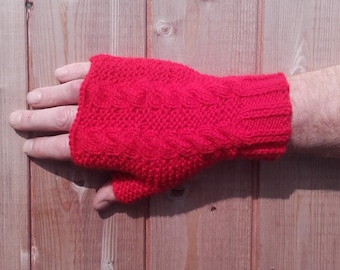 1fa36dc50fe0 Fingerless Fisherman Mittens - Big Daddy Hands - Hand Knitted in Red  Traditional Scottish Aran Cable Knit Gloves Mitts