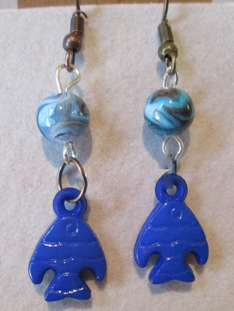blue glass 6mm beads 1 pair earrings so darling and Fun! Going to the lake anyone?  Fishing Earring polished blue plastic fish charms