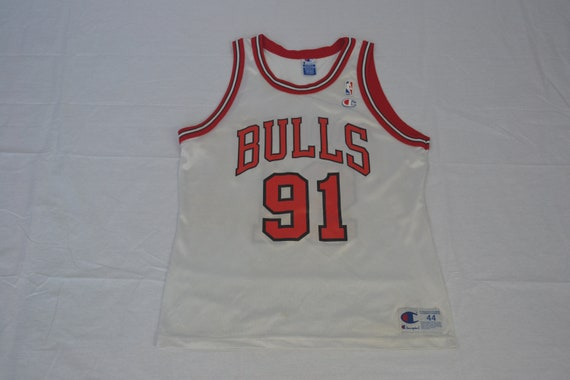 wholesale dealer a99f2 1ddfc Vintage Chicago Bulls Champion Jersey Dennis Rodman #91 NBA Size 44