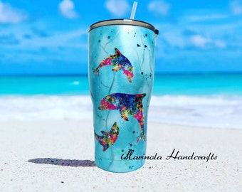 c5affd34ed3 Dolphin Tumbler, Dolphins, Sea life, colorful