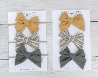 2 x Striped Bow Bobbles Girls School Hair Ribbon Various Colours