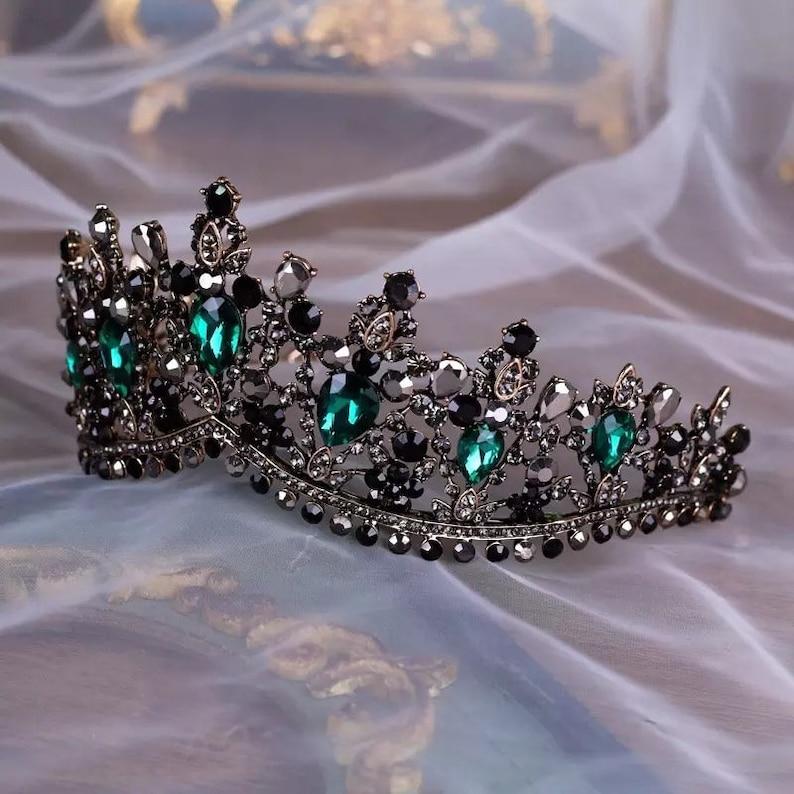 Baroque Bronze Black Green Crystal Bridal Tiaras Crown Vintage Rhinestone Diadem for Brides Headbands Wedding Hair Accessories