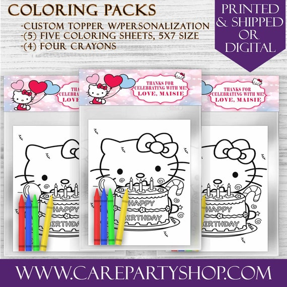 Hello Kitty Coloring Packs Favor Bags Hello Kitty Birthday Etsy